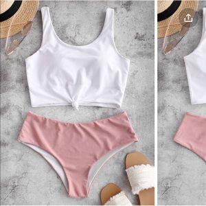 NWT Zaful Pink/White Tankini